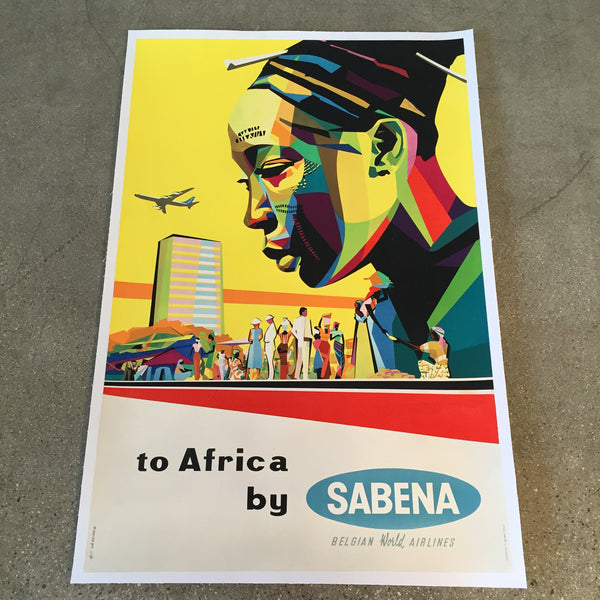 Vintage Travel Poster Sabena Belgian World Airlines Africa