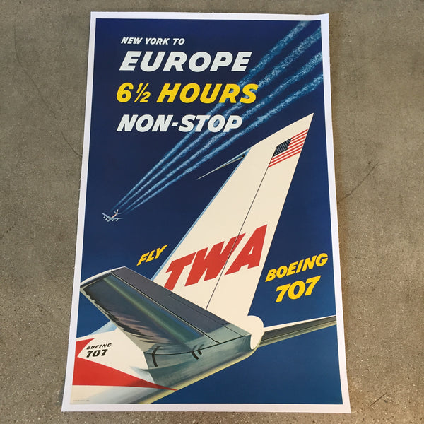 Vintage TWA New York to Europe Travel Poster