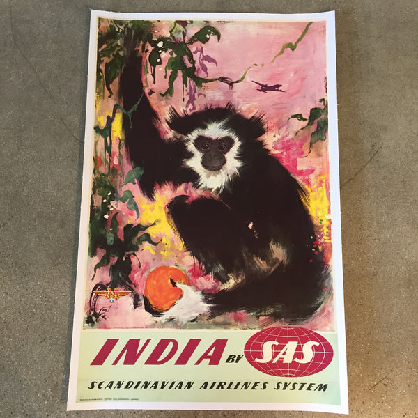Vintage Travel Poster SAS Scandinavian Airlines India
