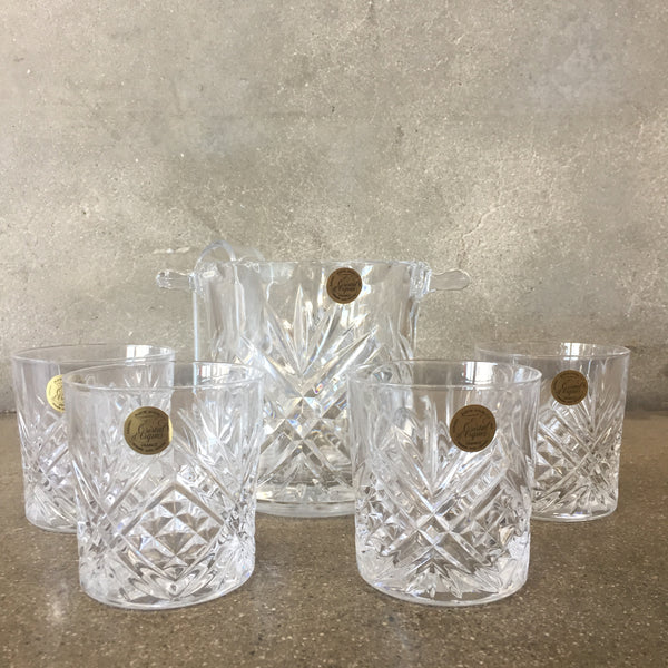 Set of Four Glasses with Glass Ice Bucket