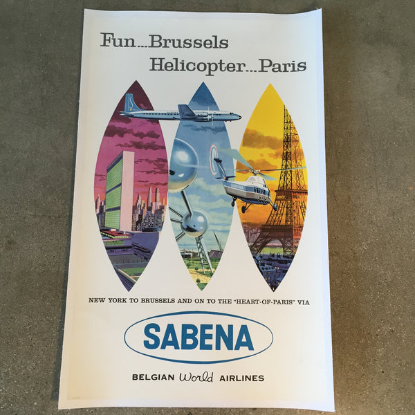 Vintage Sabena New York to Brussels Belgian World Airlines Travel Poster