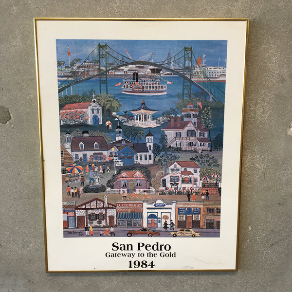 1984 San Pedro Gateway To The Gold Framed Print - Rita Schroeder