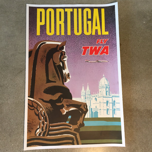 Vintage Fly TWA Portugal Travel Poster