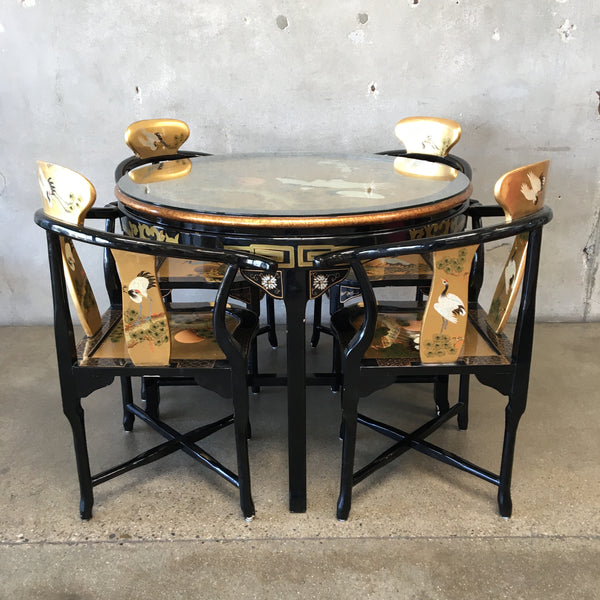 Chinese Black Lacquer Dining Table with Four Corner Chairs