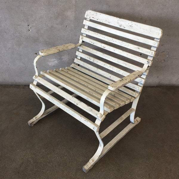 Vintage Slat Wood & Iron Chair
