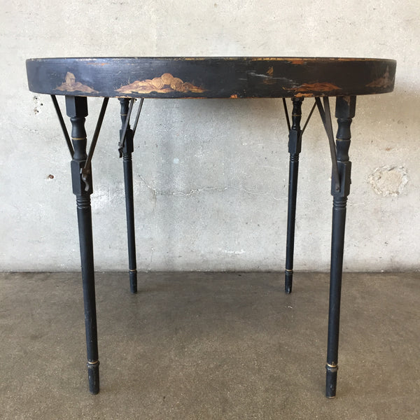 1920's Small Round Folding Table
