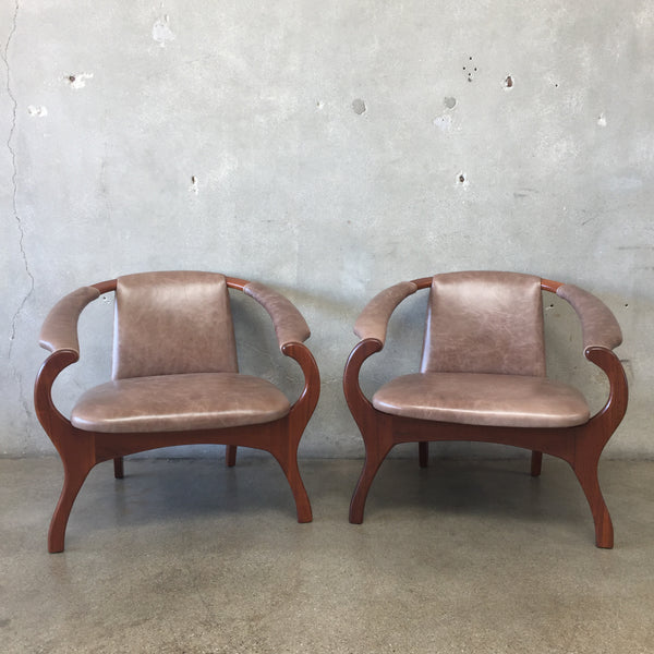 Mid Century Modern Walnut and Leather Chairs