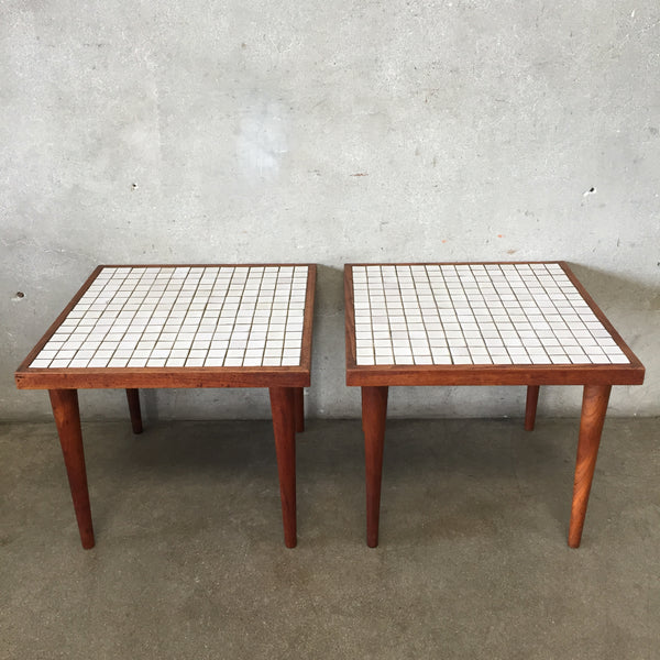 Pair of Mid Century Tile Top Side Tables