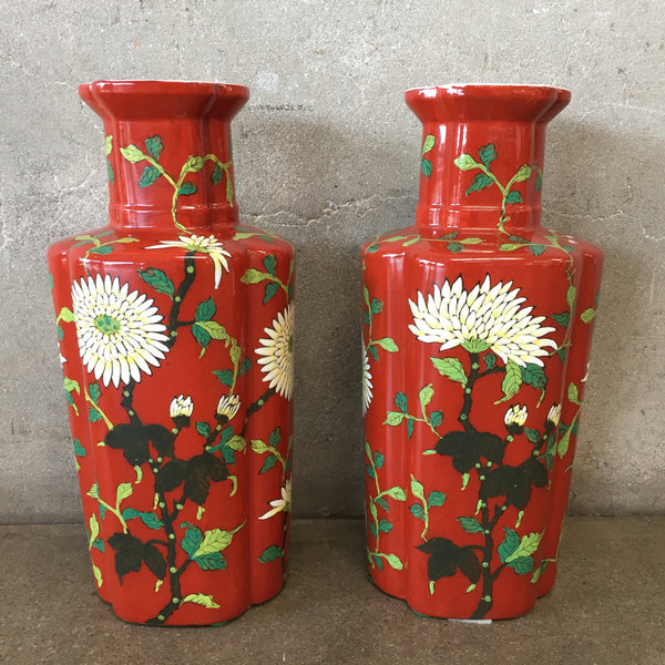 Pair of Red Floral Asian Vases