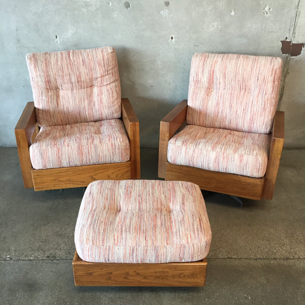 Pair of Vintage Solid Oak Rocking & Swiveling Lounge Chairs with Ottoman