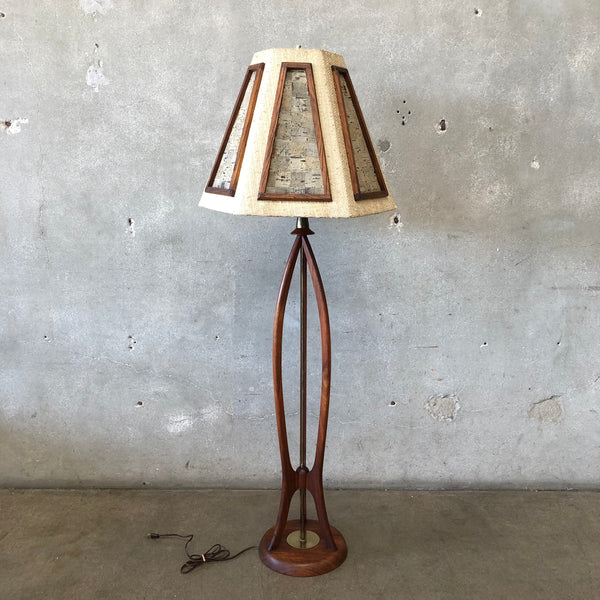 Mid Century Wood & Brass Floor Lamp with Matching Shade
