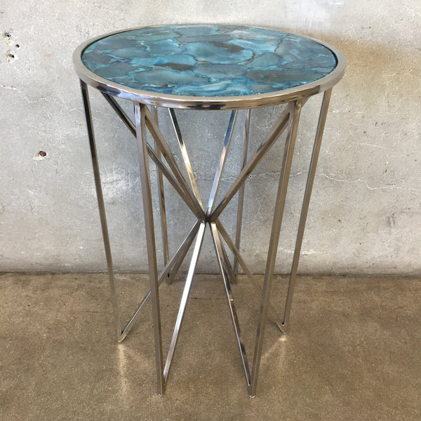 Stainless Steel & Sapphire Mosaic Side Table