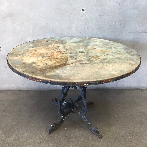 Antique French Cast Iron & Travertine Top Table