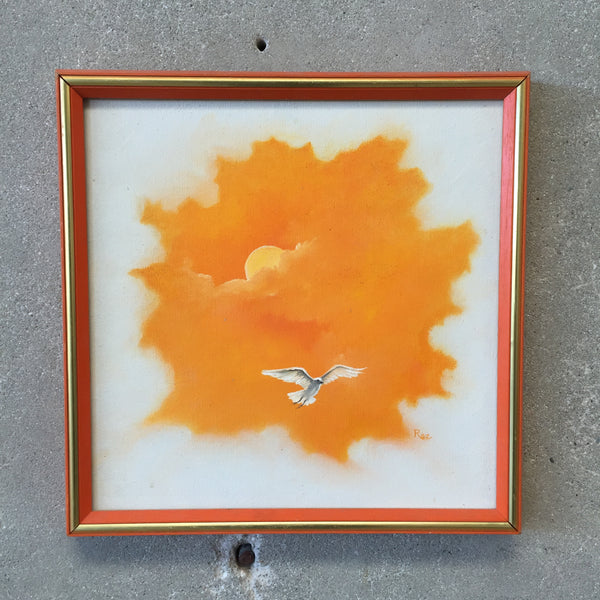 Vintage Orange and White Seagull Painting by Rae