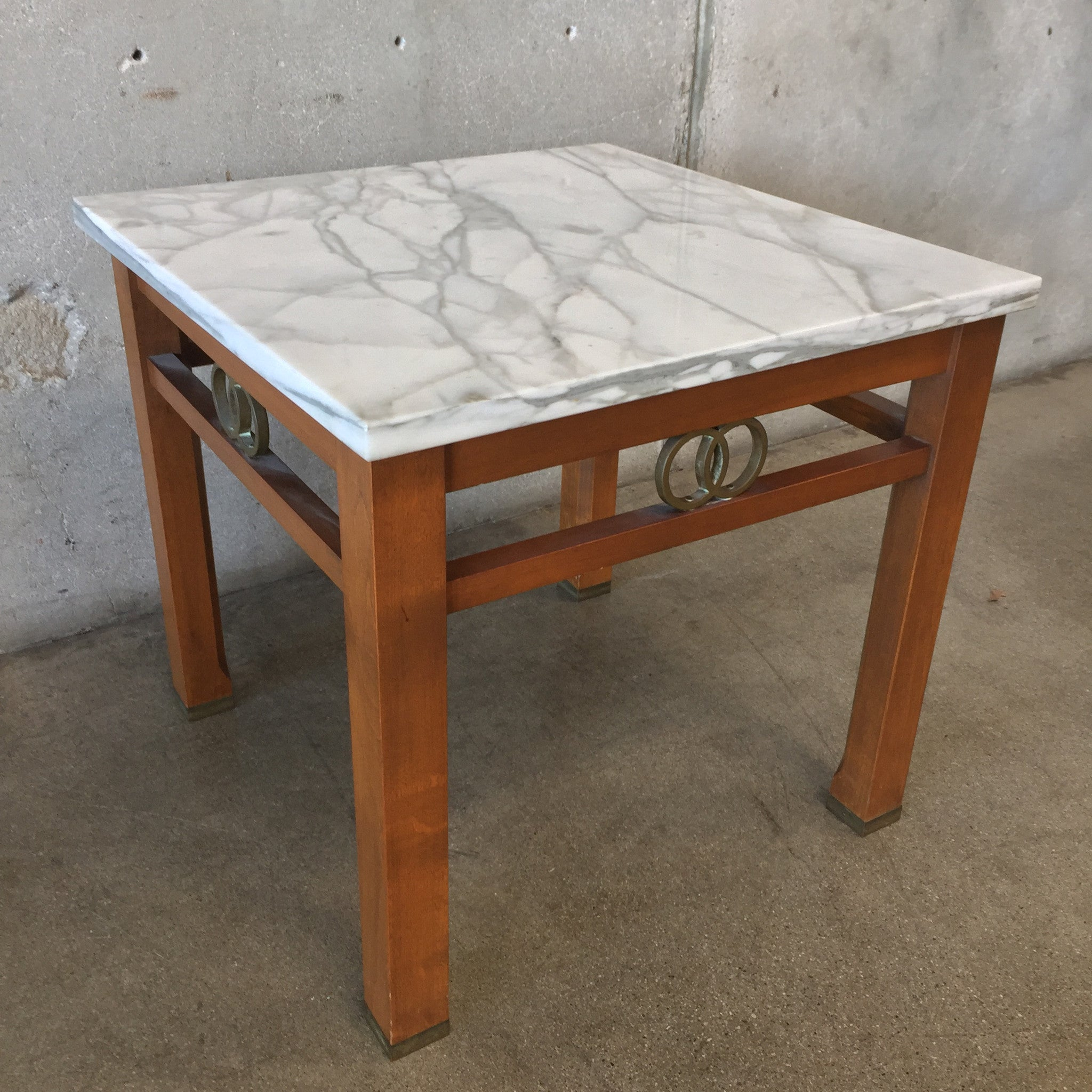 Italian Marble Side Table By Cal Marble Furniture Co.