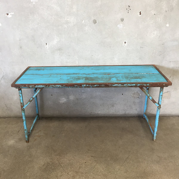 Vintage European Wood & Metal Folding Table