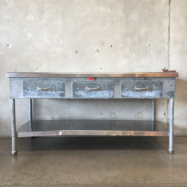Industrial Kitchen Island with Three Drawers