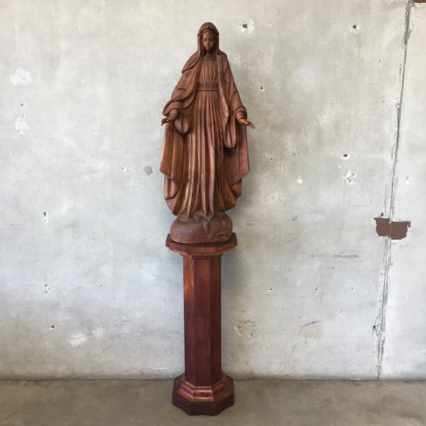 Large Carved Wood Antique Santos of Virgin Mary