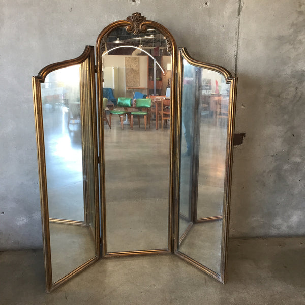 1920's Gilt Triptych Mirror