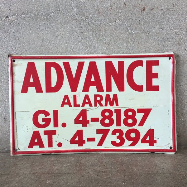 Advance Alarm Metal Sign