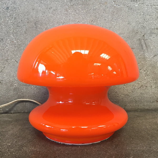 Mid Century Murano Orange Case Glass Mushroom Lamp