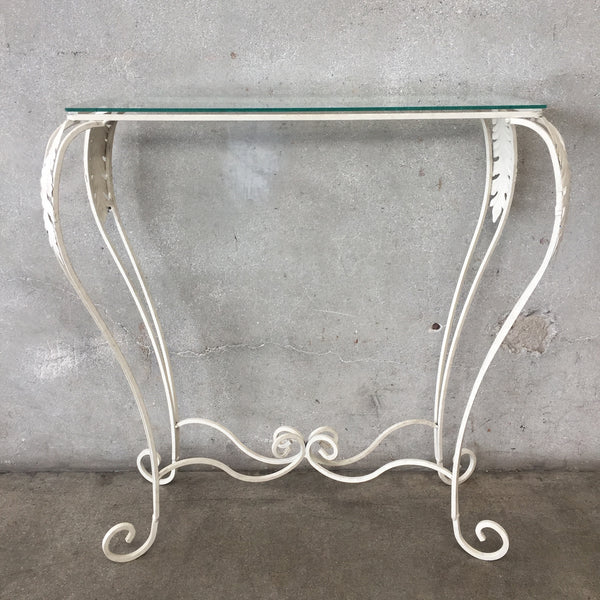 Vintage Inspired Steel Entry Table with Glass Top
