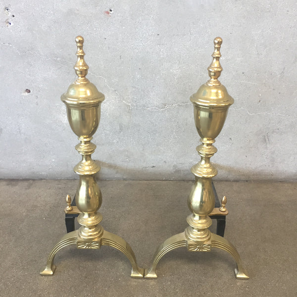 Pair of Vintage Brass Sheffield Fireplace Andirons