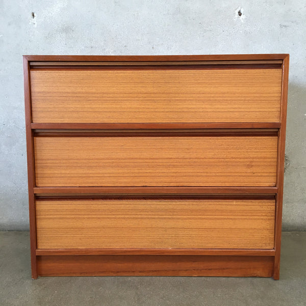 Mid Century Danish Teak Low Three Drawer Dresser