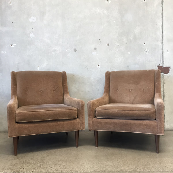 Pair of Brown Mid Century Lounge Chairs