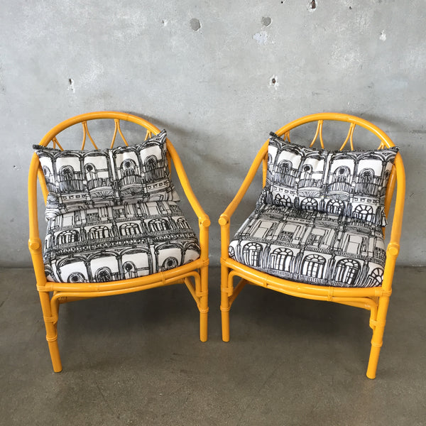 Pair of Vintage Yellow Lacquered Bamboo Rattan Chairs with Sunbrella Fabric