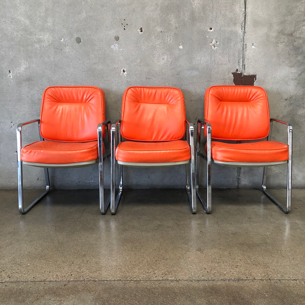 Set of 3 Mid Century Office Chairs Newly Upholstered