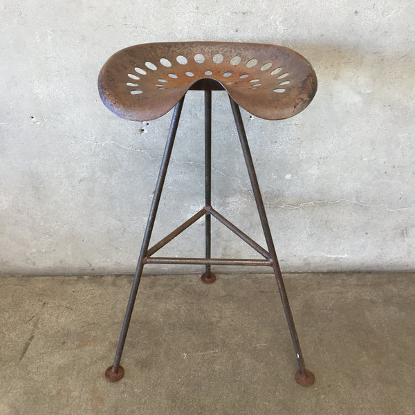 Vintage Mid Century Modern Rustic Tractor Seat Bar Stool