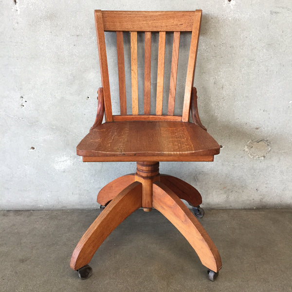 Vintage Wood Swivel Base Desk Chair by Murphy
