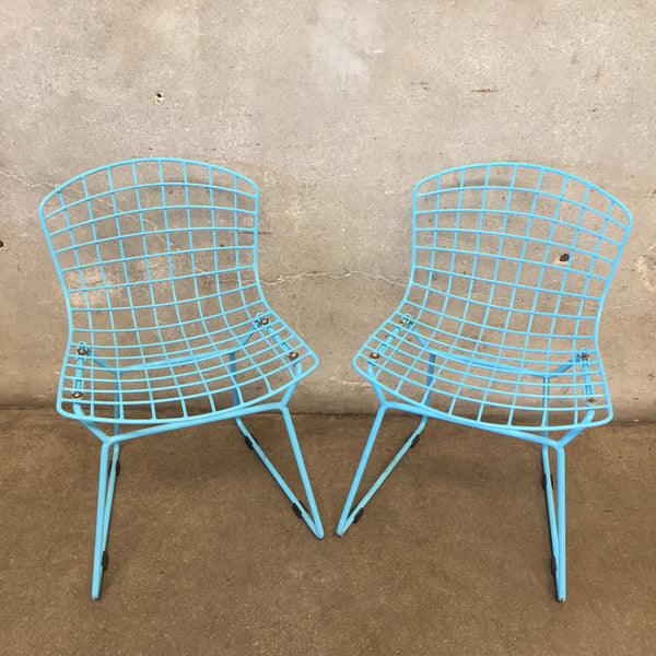 Pair of Children's Blue Bertoia Style Chairs