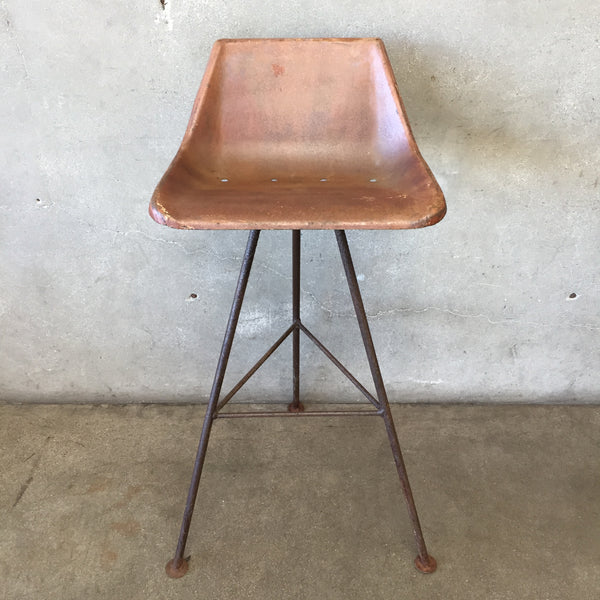 Vintage Bucket Back Rustic Tractor Seat Bar Stool