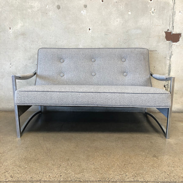 Mid Century Chrome Sofa / Loveseat newly upholstered