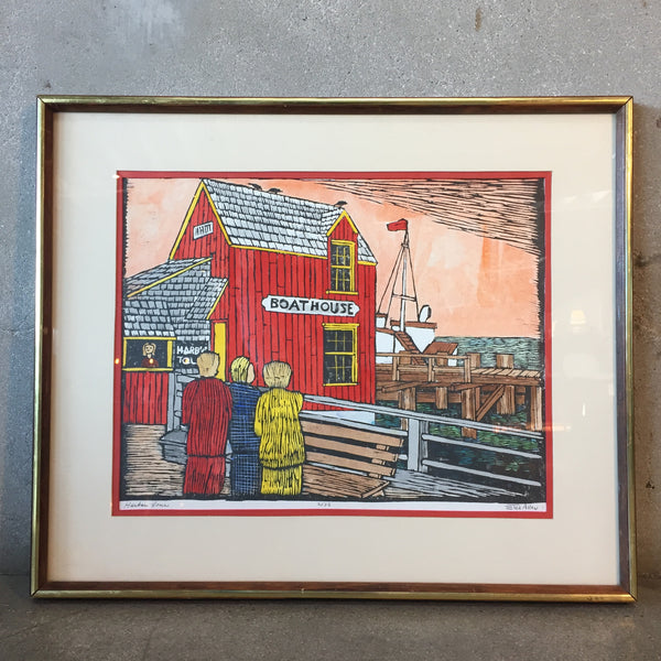 Vintage Harbor Tour Painting