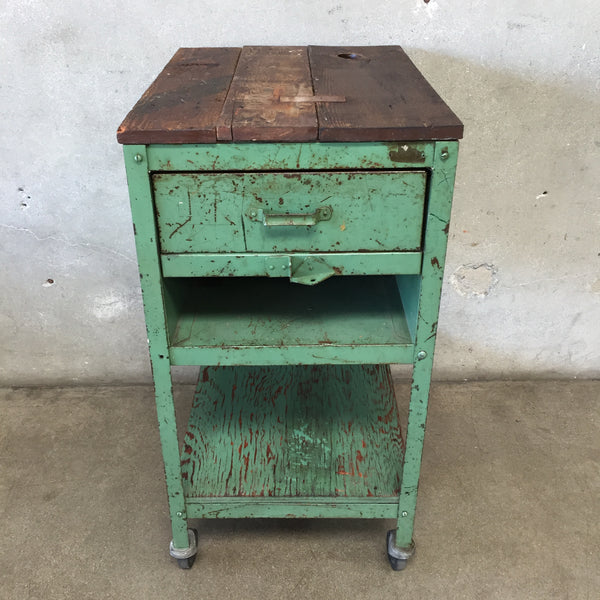 Vintage Green Industrial Rolling Cart