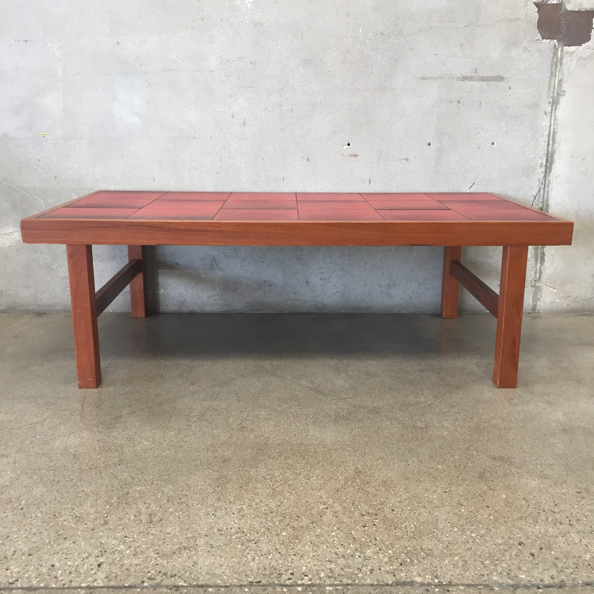 Mid Century Modern Red Tile Top Danish Coffee Table – UrbanAmericana