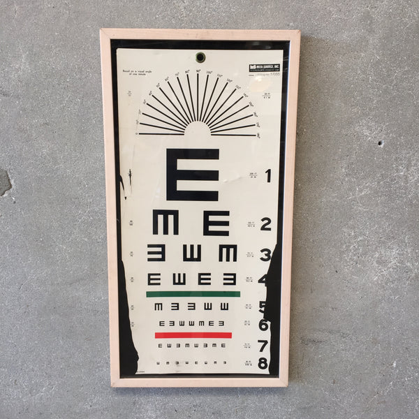 Framed Vintage Eye Chart