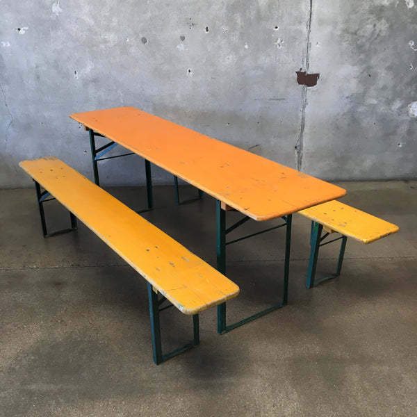 Vintage German Beer Garden Table with Two Benches