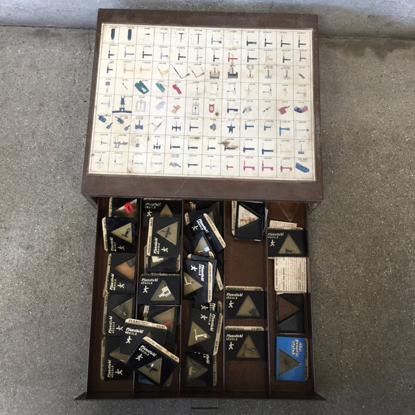 Metal Drawer of Vintage Record Player Needles