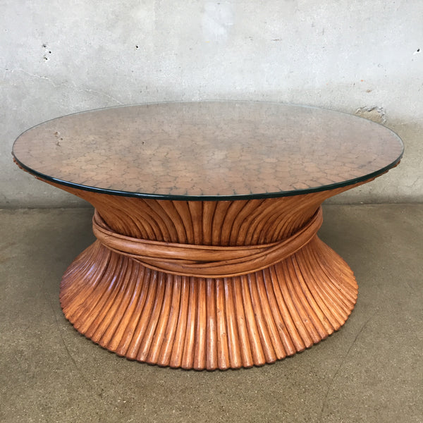 Mid Century Lacquered Bamboo Coffee Table