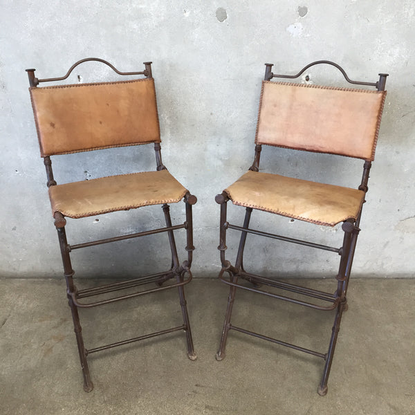 Pair of Iron & Leather Bar Stools