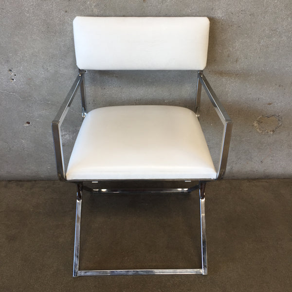 White Leather Mid Century Chair with Chrome