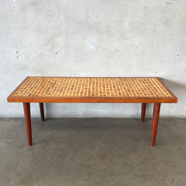 Mid Century Inlaid Wood Coffee Table