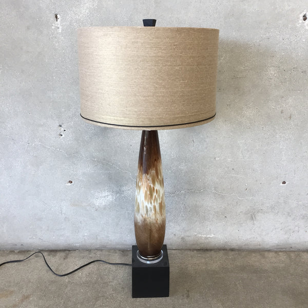 Modern Brown & Gold Speckled Art Glass Lamp