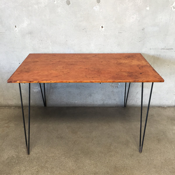 1950's Plywood Steel Hairpin Leg Table