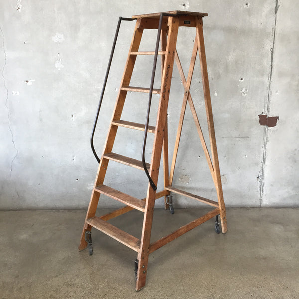 1940's Vintage Six Step Rolling Ladder