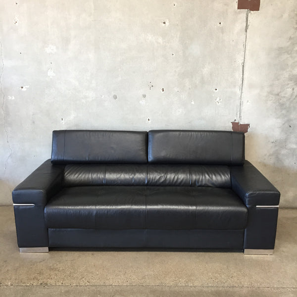 Mid Century Modern Style Italian Leather Sofa
